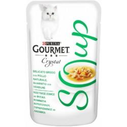 Purina Gourmet Crystal Soup Delicato Brodo con Pollo Naturale, Guarnito con Verdure 15x140 gr
