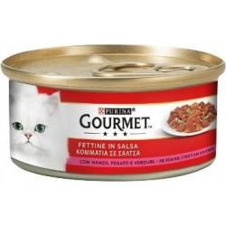 Purina Gourmet Fettine in Salsa con Manzo, Fegato e Verdure 6x195 gr