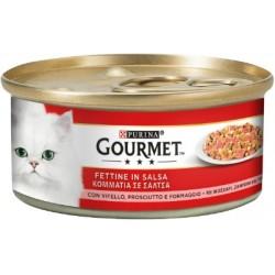 Purina Gourmet Fettine in Salsa con Vitello, Prosciutto e Formaggio 6x195 gr