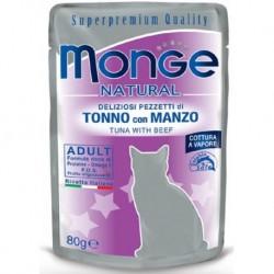 MONGE CAT TONNO MANZO 80GR BUSTINA
